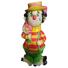 Vintage Holiday Fair Ceramic Two-Faced Clown Coin Bank