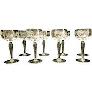 Vintage Mid-Century Etched Crystal Cordial Glassware