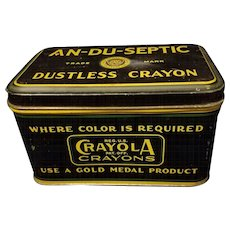 Antique Binney & Smith Gold Medal Dustless Crayon Tin - Red Tag Sale Item