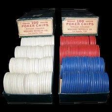Vintage Western Novelty Company Lucky Horseshoe Wooden Poker Chips
