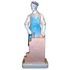 Vintage Blue Danube China Brick Mason Figurine