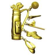 Vintage Jonette Jewelry Golf Bag Brooch