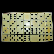 Vintage Puremco Marblelike Double Six Dominoes