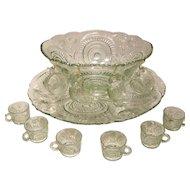 Antique Pinwheel & Stars Punch Bowl Set by L.E. Smith Glass Company