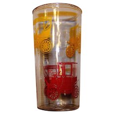 Vintage Brockway Swanky Swigs Jelly Glass Set With Antique Automobile Motif