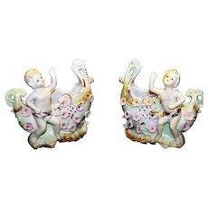 Vintage 1950's Pair Of Porcelain Cherub Planters