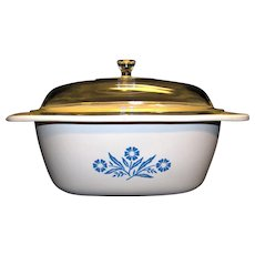 Vintage Corning Blue Cornflower 5 Quart Square Dutch Oven