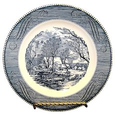 Vintage Currier & Ives Blue Old Grist Mill Dinner Plate