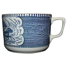 Vintage Currier & Ives Blue Mug By Royal China