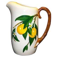 Vintage Metlox Poppytrail California Fruit Pattern Ceramic Pitcher