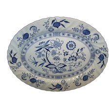 Vintage Blue Nordic China Platter In Blue Onion Pattern By Johnson Brothers