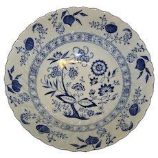 Vintage Blue Nordic China Round Vegetable Bowl In Blue Onion Pattern By Johnson Brothers
