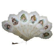 Framed Vintage 1901 Bright Eyes Calendar Girls Paper Fan