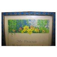 Vintage Art Deco Framed Color Print Of My Friend Poem