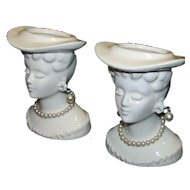 Vintage Porcelain Victorian Half-Head Lady Toothpick Holders