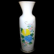 Vintage Bristol Hand Blown and Hand Painted Floral Vase
