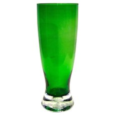 Vintage Emerald Green Glass Floral Vase With Applied Controlled Bubble