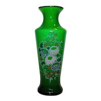 Vintage Bristol Green Glass Hand Painted Floral Vase