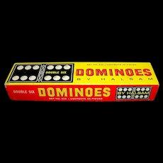 Vintage 1960's Halsam Double Six Wooden Dominoes