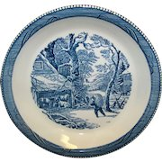 Vintage Royal China Company Currier & Ives Blue Pie Plate