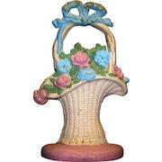 Vintage Recast Hubley Cast Iron French Basket Door Stop