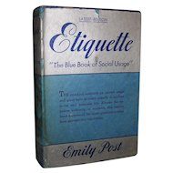 Vintage 1943 Emily Post's Etiquette; The Blue Book Of Social Usage Hardcover Edition