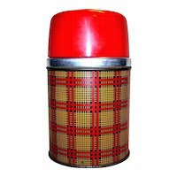 Vintage 1955 Aladdin Red Yellow Black Plaid  Wide Mouth Thermos