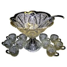 Vintage EAPG McKee Concord Clear Punch Bowl Set