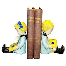 Vintage Figural Chalkware Boy & Girl Reading Bookends