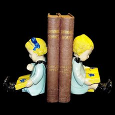 Vintage Figural Chalkware Boy & Girl Reading Bookends