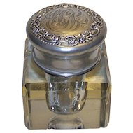Antique Cut Glass Inkwell With Monogrammed Sterling Silver Repousse Ornate Cap