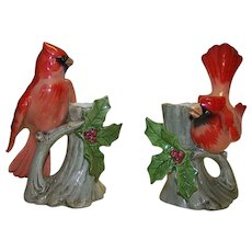 Vintage Porcelain Cardinal & Holly Taper  Candle Holders By Fitz & Floyd