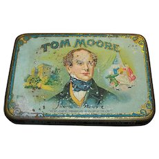 Vintage Lithographed Tom Moore Cigar Tin