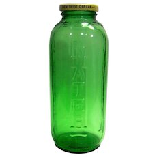 Vintage Sunsweet Prune Juice Green Glass Refrigerator Bottle