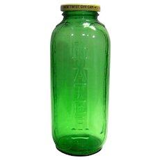 Vintage Sunsweet Prune Juice Green Glass Refrigerator Bottle - Red Tag Sale Item