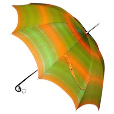 Vintage Ladies Multi-Striped Umbrella