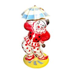 Vintage Wind-Up Mechanical Plastic Bimbo Dancing Clown By Irwin Toys