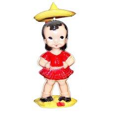 Vintage Wind-Up Mechanical Plastic Dancing Senorita By Irwin Toys