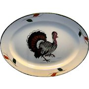 Vintage Blue Ridge Southern Potteries Hand Painted China Turkey Platter