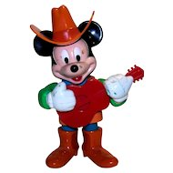 Vintage Walt Disney Mickey Mouse Wind-Up Cowboy Toy