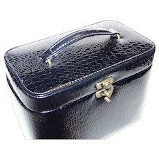 Vintage Black Faux Alligator Skin Jewelry Box And Storage Carry Case