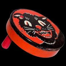 Vintage 1920's Kirchhof Black Cat Tin Litho Hand Noisemaker