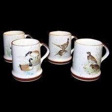 Vintage Porcelain Wild Bird Coffee Mug Set