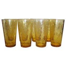 Vintage Amber Crackle Water Glasses