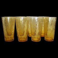 Vintage Amber Crackle Water Glasses
