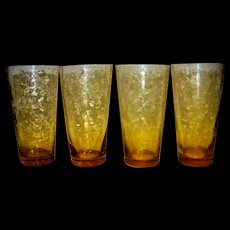 Vintage Amber Crackle Glass Tea Glasses