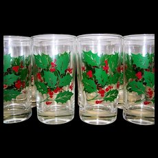 Vintage Bartlett Collins Holly Glass Flat Tumblers