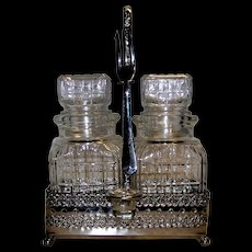 Vintage English Silver Plated Glass Pickle & Olive Condiment Set