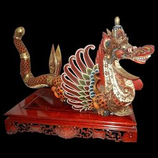 Vintage Hand Carved and Decorated Wood Chinese Dragon and Stand