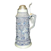 Vintage Original Reissue of Thewalt 1884 Large Salt Glazed Beer Stein